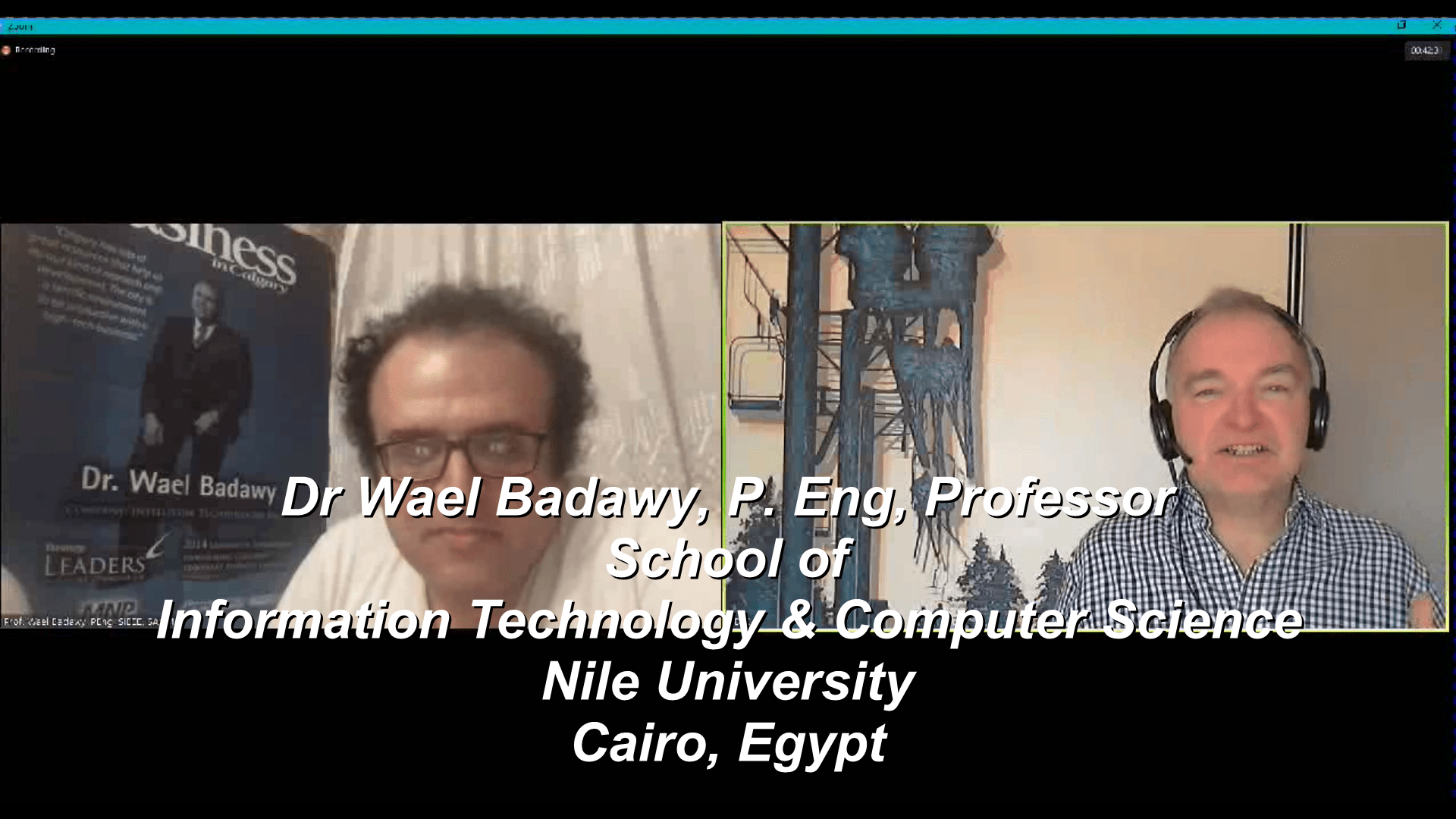 Out-of-Country interviews Dr Wael Badawy while he is a professor at Nile University Cairo Egypt